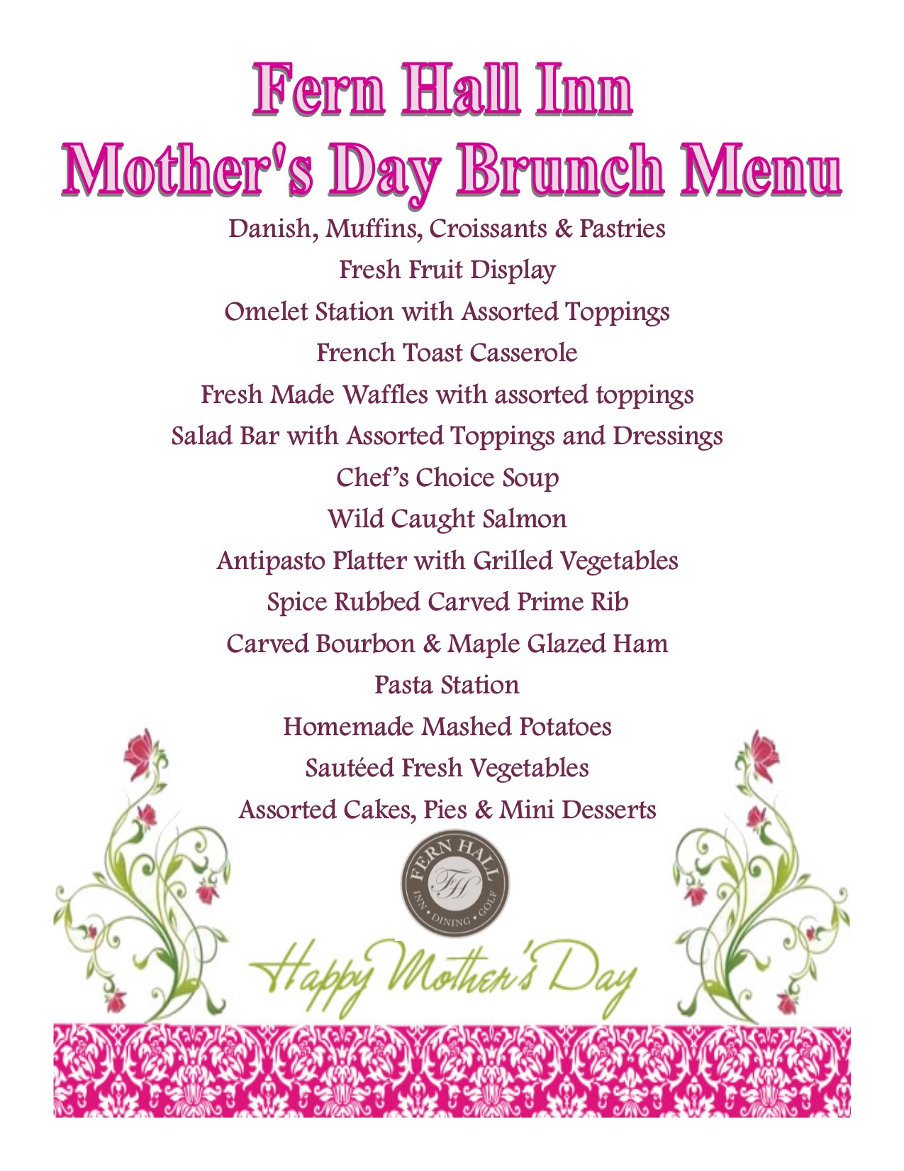 2016 mothers day menu